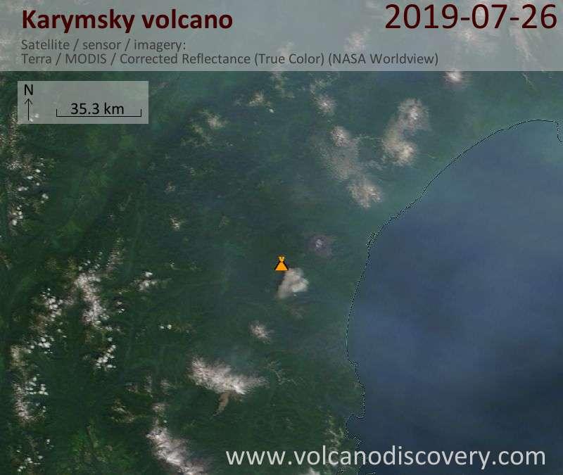 Satellitenbild des Karymsky Vulkans am 26 Jul 2019