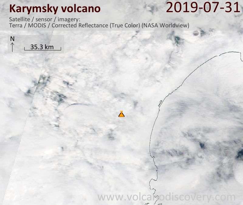 Satellite image of Karymsky volcano on 31 Jul 2019