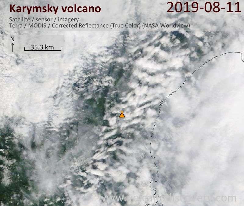 Satellite image of Karymsky volcano on 11 Aug 2019