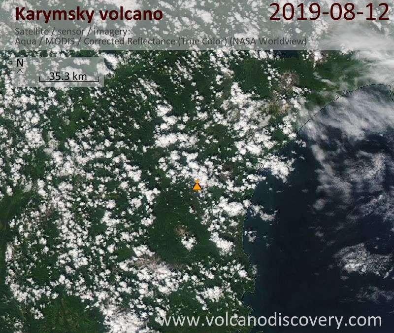 Satellite image of Karymsky volcano on 12 Aug 2019