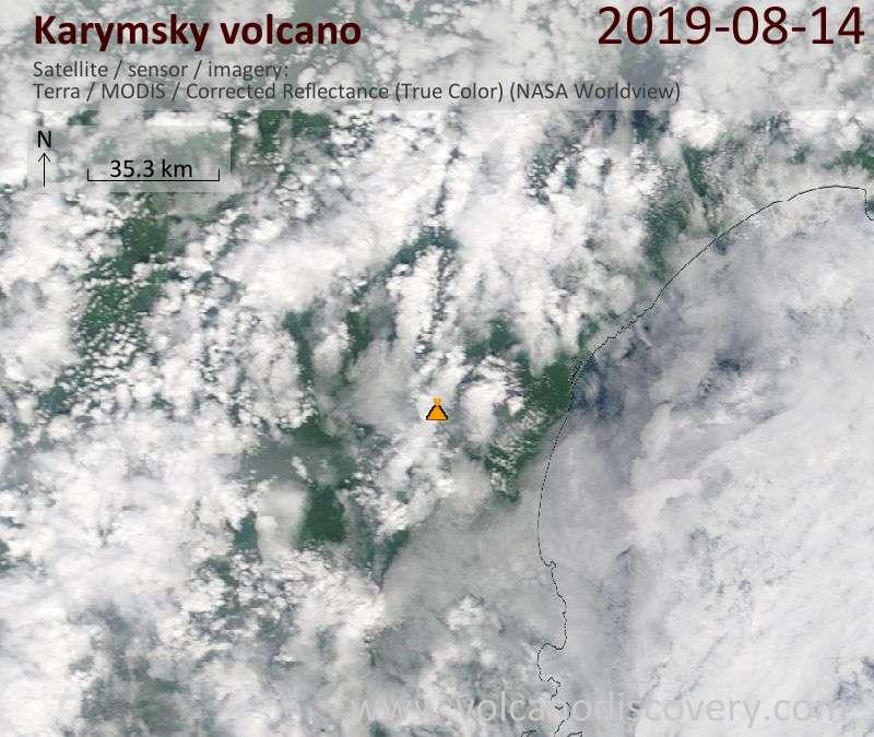 Satellite image of Karymsky volcano on 14 Aug 2019