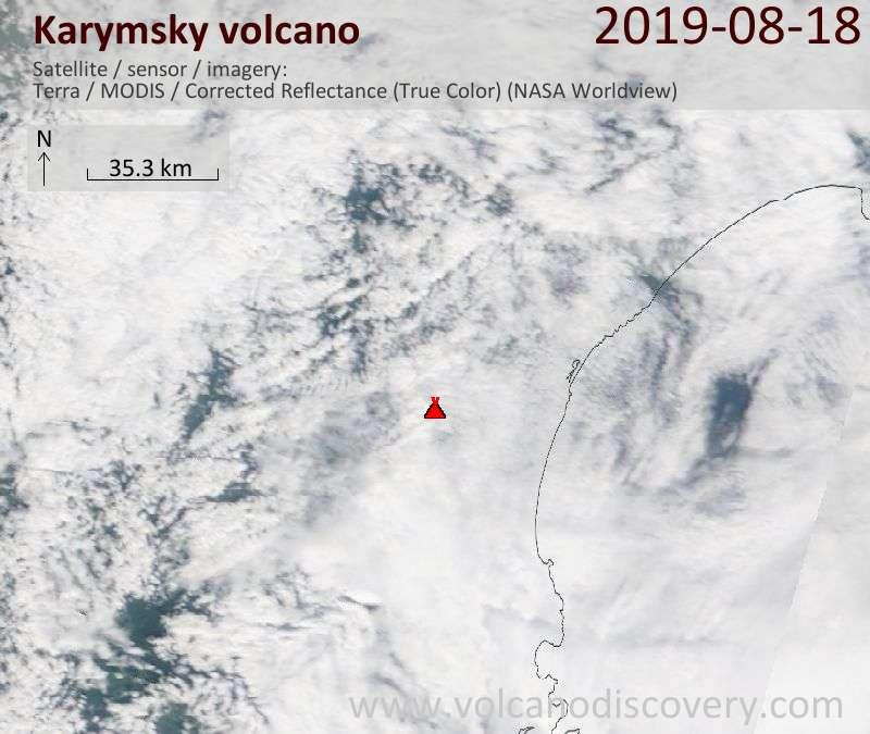 Satellite image of Karymsky volcano on 18 Aug 2019