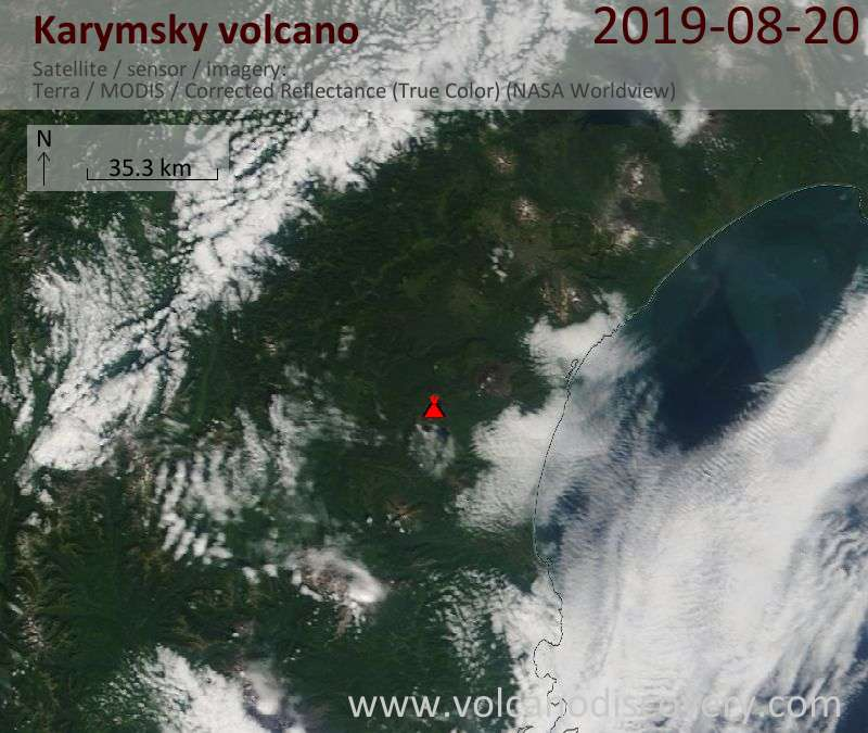 Satellite image of Karymsky volcano on 20 Aug 2019