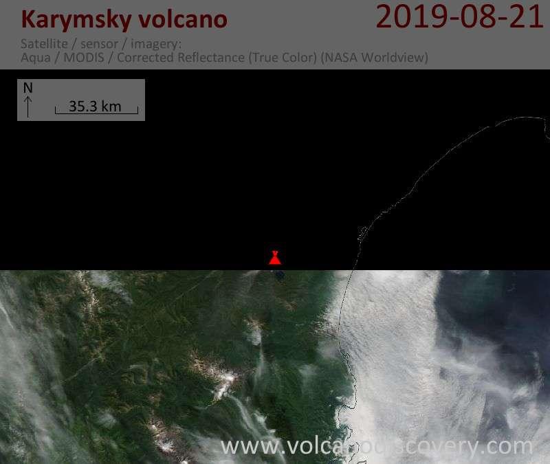 Satellite image of Karymsky volcano on 21 Aug 2019