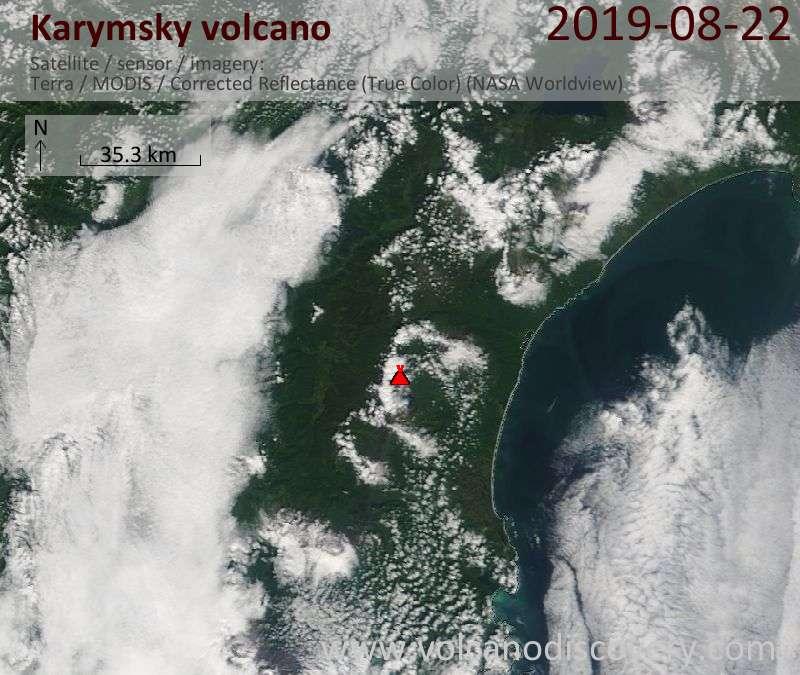 Satellite image of Karymsky volcano on 22 Aug 2019