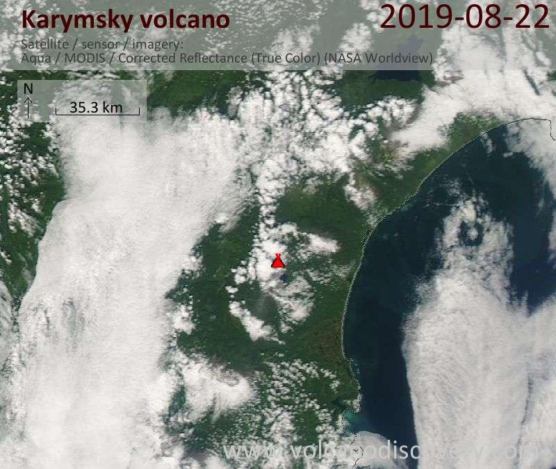 Satellite image of Karymsky volcano on 23 Aug 2019