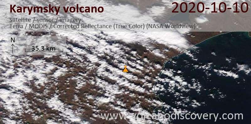Satellite image of Karymsky volcano on 10 Oct 2020