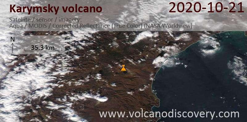 Satellite image of Karymsky volcano on 21 Oct 2020