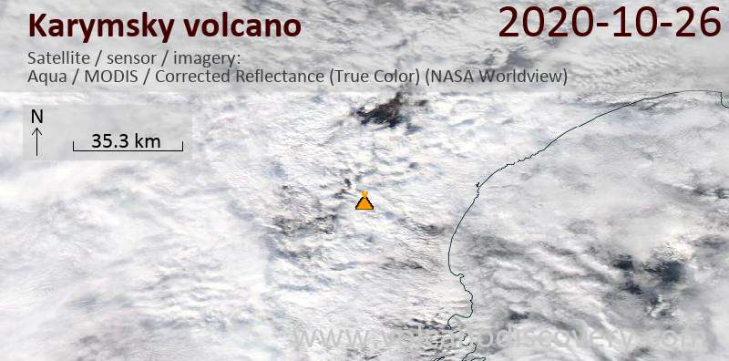 Спутниковое изображение вулкана Karymsky 26 Oct 2020