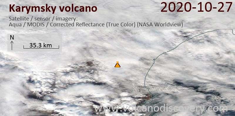 Спутниковое изображение вулкана Karymsky 27 Oct 2020