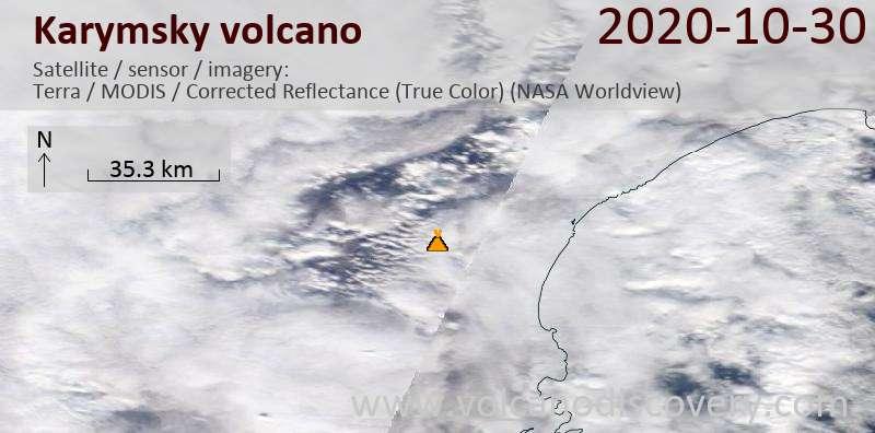 Спутниковое изображение вулкана Karymsky 30 Oct 2020