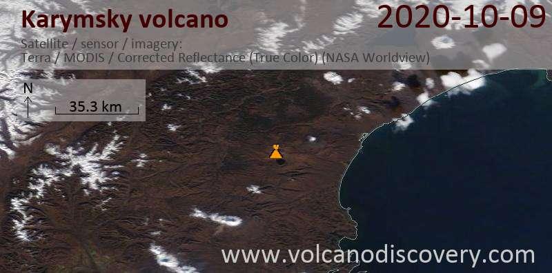 Satellite image of Karymsky volcano on  9 Oct 2020