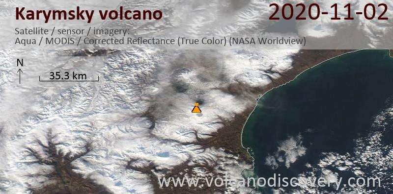 Спутниковое изображение вулкана Karymsky  2 Nov 2020