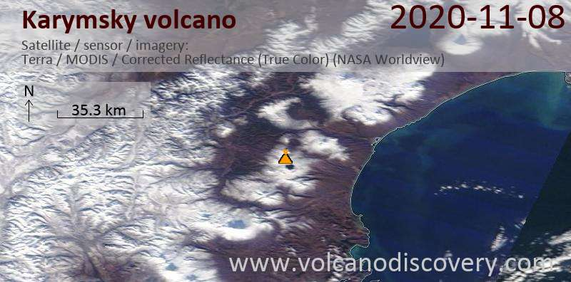 Satellite image of Karymsky volcano on  8 Nov 2020
