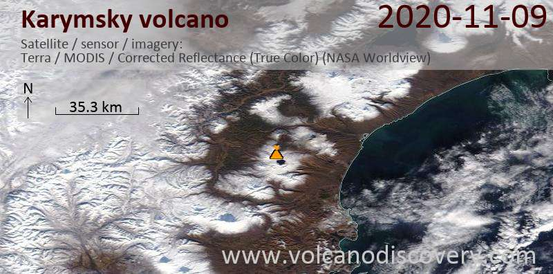 Satellite image of Karymsky volcano on  9 Nov 2020
