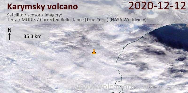 Satellitenbild des Karymsky Vulkans am 12 Dec 2020