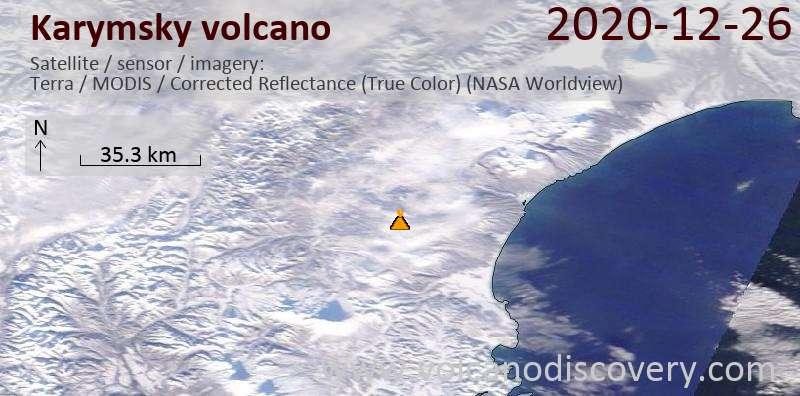Satellitenbild des Karymsky Vulkans am 26 Dec 2020