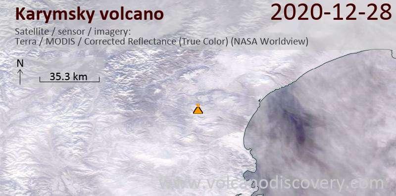 Satellitenbild des Karymsky Vulkans am 28 Dec 2020