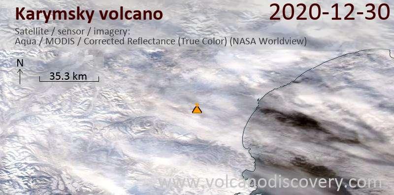Satellitenbild des Karymsky Vulkans am 30 Dec 2020