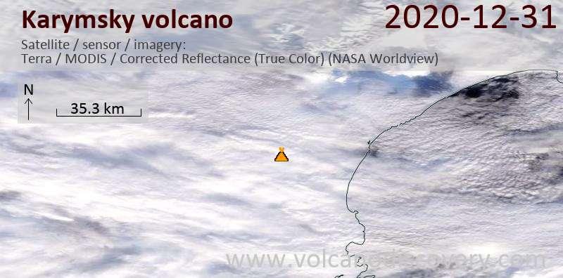 Satellitenbild des Karymsky Vulkans am 31 Dec 2020
