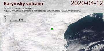 Satellite image of Karymsky volcano on 12 Apr 2020