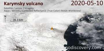 Satellite image of Karymsky volcano on 11 May 2020