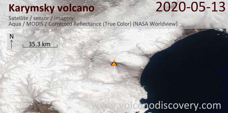 Satellite image of Karymsky volcano on 14 May 2020