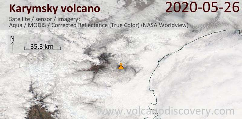 Satellite image of Karymsky volcano on 26 May 2020