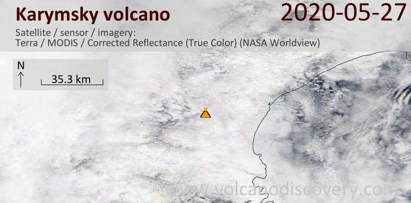 Satellite image of Karymsky volcano on 27 May 2020