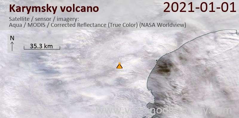 Satellitenbild des Karymsky Vulkans am  1 Jan 2021