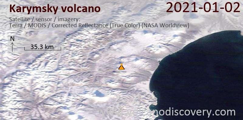 Satellite image of Karymsky volcano on  2 Jan 2021