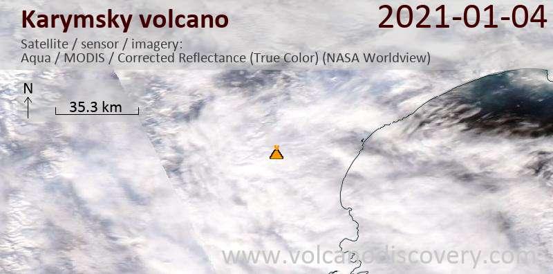 Satellite image of Karymsky volcano on  4 Jan 2021