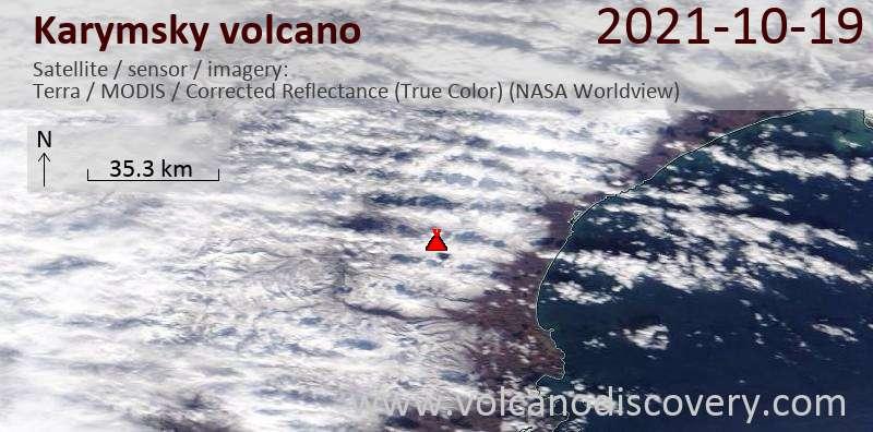 Satellitenbild des Karymsky Vulkans am 20 Oct 2021