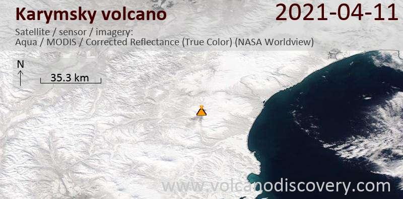 Satellitenbild des Karymsky Vulkans am 11 Apr 2021