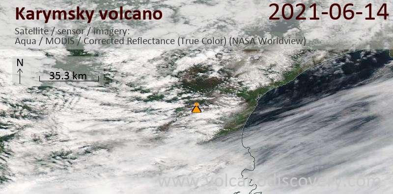 Satellite image of Karymsky volcano on 15 Jun 2021