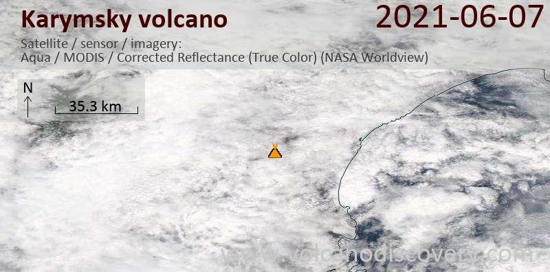 Satellitenbild des Karymsky Vulkans am  7 Jun 2021