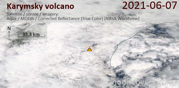 Satellite image of Karymsky volcano on  7 Jun 2021