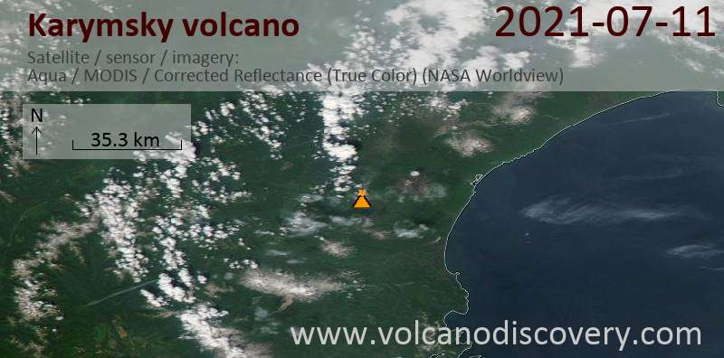 Satellite image of Karymsky volcano on 12 Jul 2021