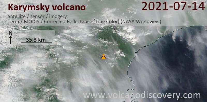 Satellite image of Karymsky volcano on 15 Jul 2021