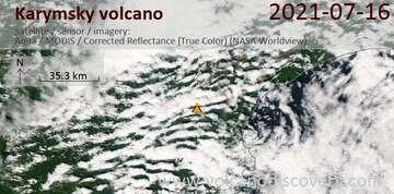 Satellite image of Karymsky volcano on 16 Jul 2021