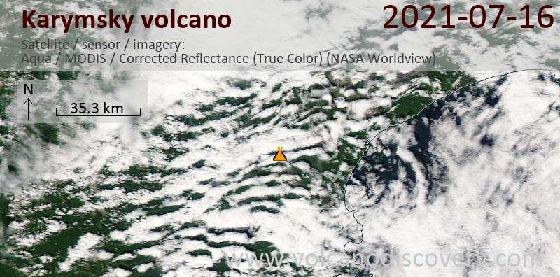 Satellite image of Karymsky volcano on 17 Jul 2021