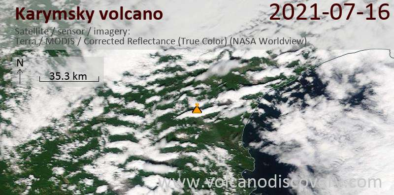 Satellite image of Karymsky volcano on 18 Jul 2021