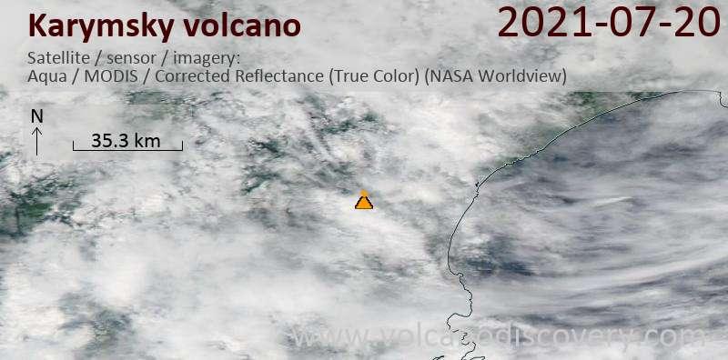 Satellite image of Karymsky volcano on 20 Jul 2021