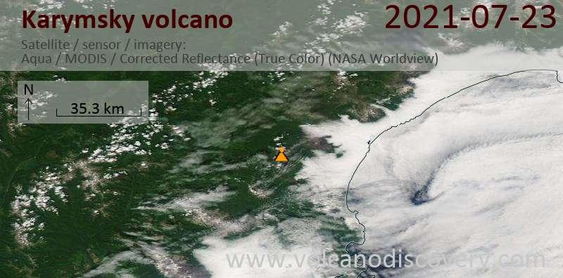 Satellite image of Karymsky volcano on 23 Jul 2021