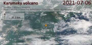 Satellite image of Karymsky volcano on  6 Jul 2021
