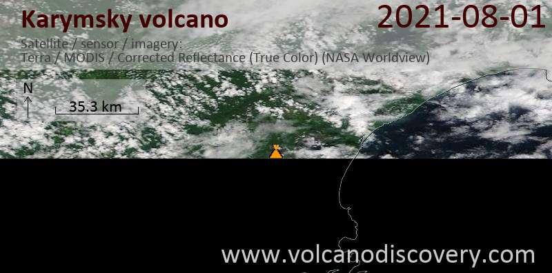 Спутниковое изображение вулкана Karymsky  1 Aug 2021