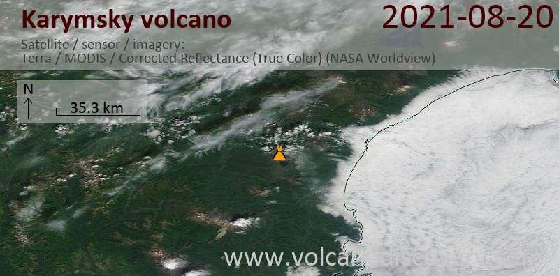 Satellite image of Karymsky volcano on 20 Aug 2021