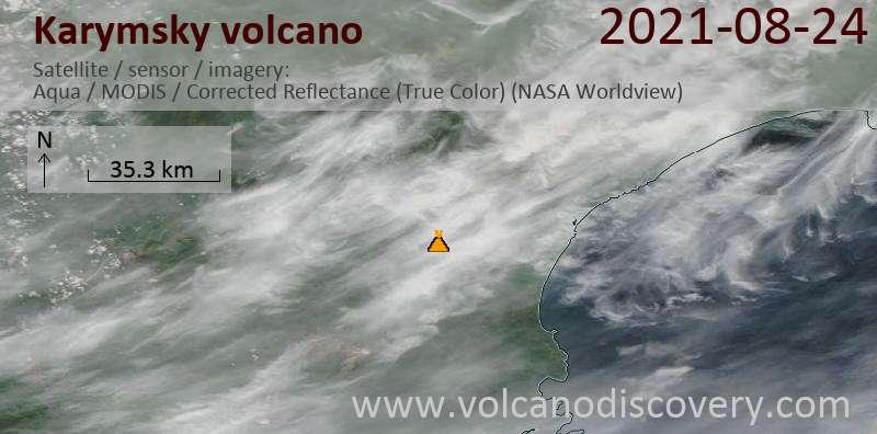 Satellite image of Karymsky volcano on 25 Aug 2021
