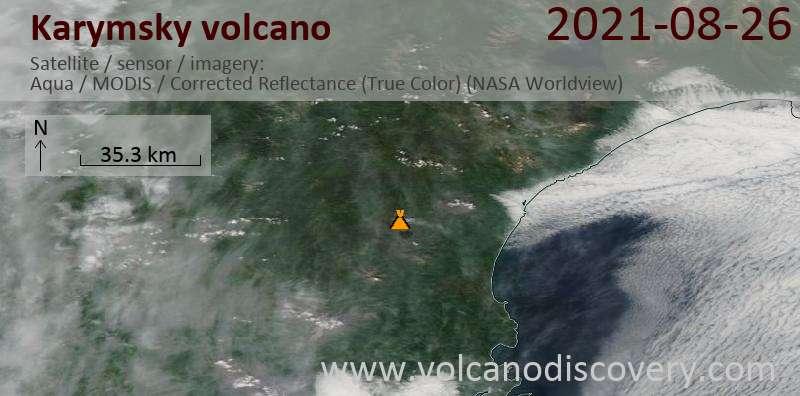 Satellite image of Karymsky volcano on 26 Aug 2021