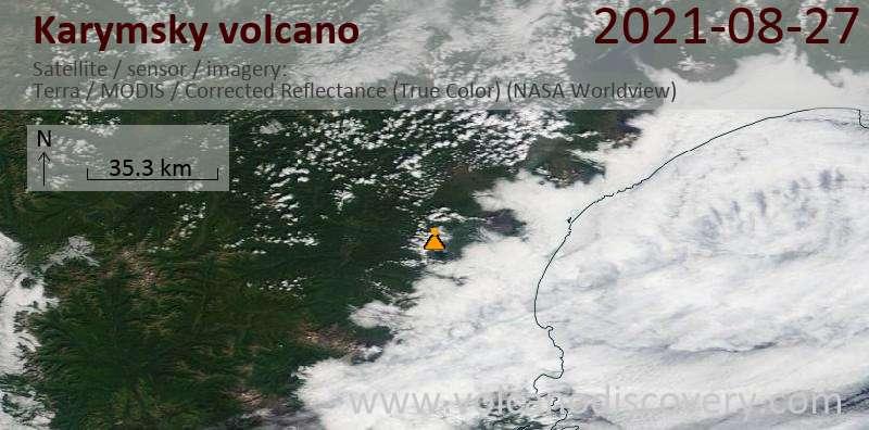 Satellite image of Karymsky volcano on 27 Aug 2021